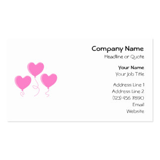 Pink Heart Balloons. Pack Of Standard Business Cards