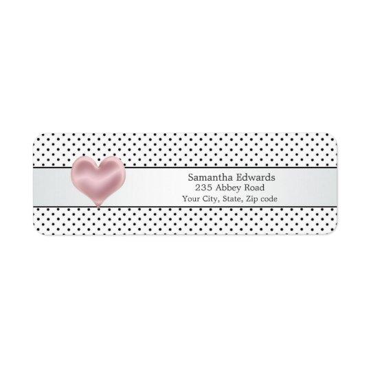Pink heart black polka dot Avery Label Return Address Label