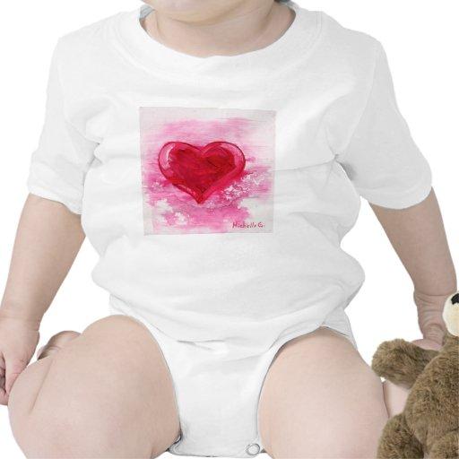 Pink Heart Bodysuit aka Creeper For Infant & Baby