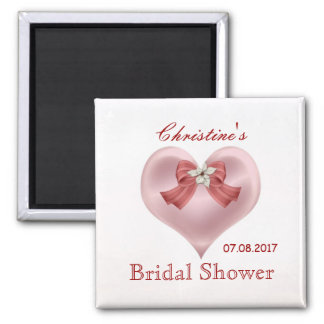 Pink heart, bow, flower Bridal Shower magnet