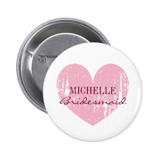 Pink heart bridesmaids buttons   Personalized name Pin