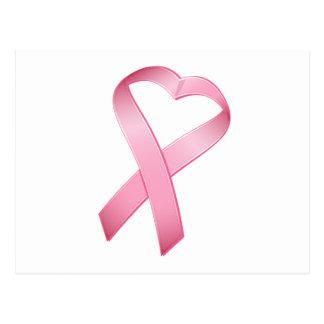 Pink Heart Cancer Ribbon Postcards