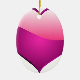 Pink Heart Ceramic Oval Decoration