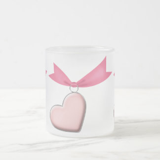 PINK HEART CHARM RIBBON GIRLY LOVE DATING MOTIVATI FROSTED GLASS MUG