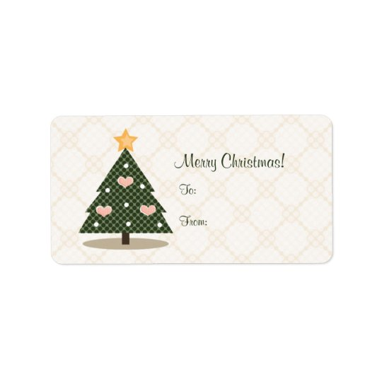 Pink Heart Christmas Tree Gift Label