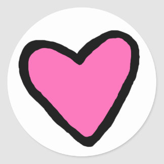 Pink Heart Circle Stickers