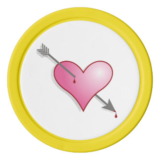 Pink Heart Clay Poker Chips, Yellow Solid Edge Poker Chip Set
