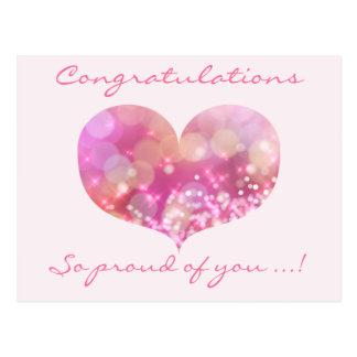 Pink Heart   Congratulations Graduation Postcard
