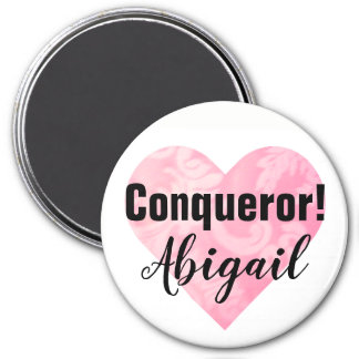 Pink Heart Conqueror Magnet, Round Magnet