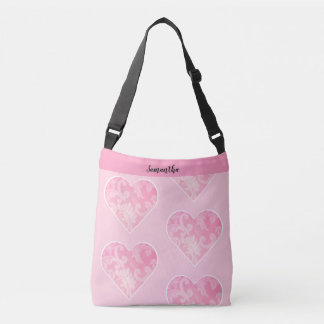 Pink Heart Cross-body Bag, Customizable Crossbody Bag