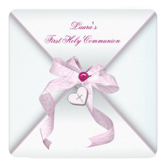 Pink Heart Cross Girls Pink First Communion Card