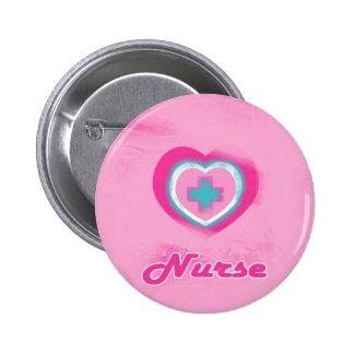 Pink Heart & Cross- Nurse 6 Cm Round Badge