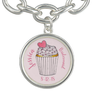 Pink Heart Cupcake Personalized Bridal Party Gift