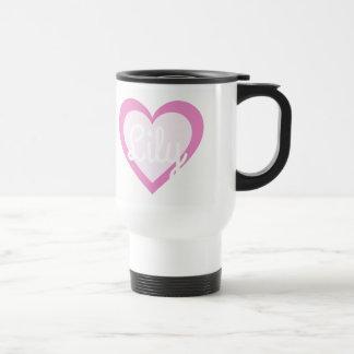 Pink Heart Customisable Travel/Commuter Mug