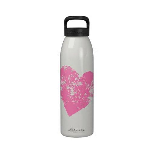 Pink heart cute girly water bottle