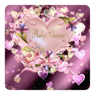 Pink Heart Damask Baby Girl Shower Card