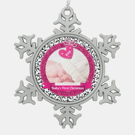 Pink Heart Damask Photo Baby's First Christmas Ornament