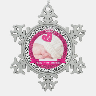 Pink Heart Damask Photo Baby's First Christmas Pewter Snowflake Decoration