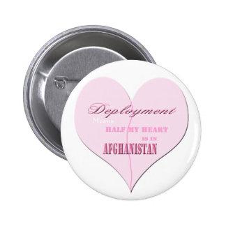 Pink Heart Deployment Afghanistan Button