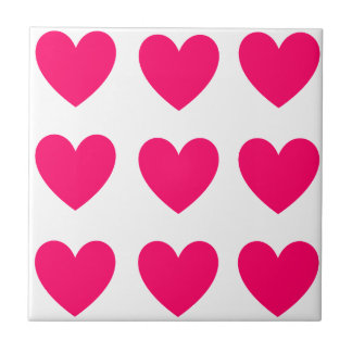 Pink Heart Design Ceramic Tile