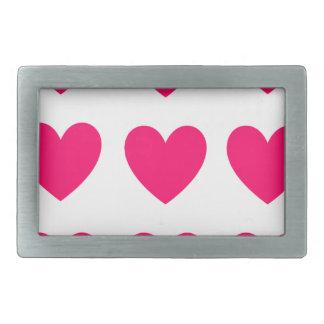 Pink Heart Design Rectangular Belt Buckles