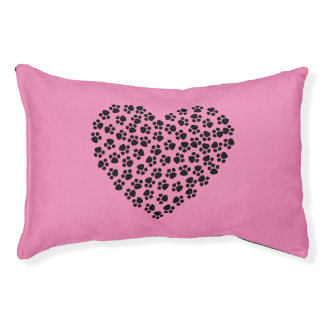 Pink heart dog bed