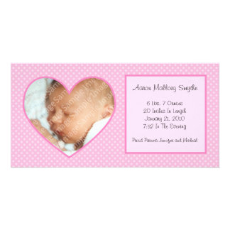 Pink Heart Dots New Baby Photo Card