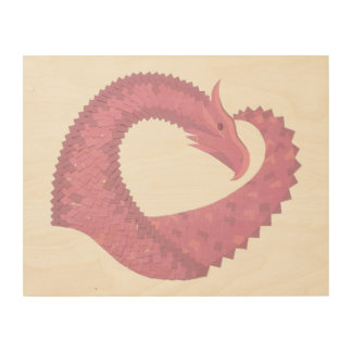 Pink heart dragon wood print