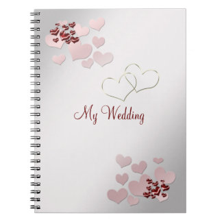 Pink Heart Elegant Wedding Notebook