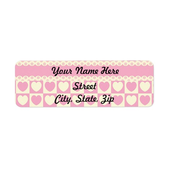 Pink Heart Eyelet Return Address Sticker