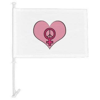 Pink Heart Female Symbol Resisterhood Car Flag