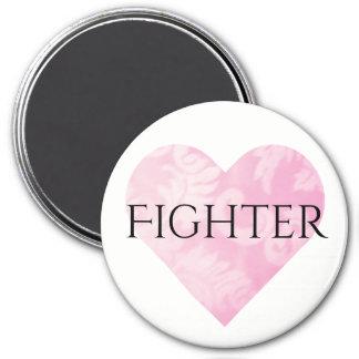 Pink Heart Fighter Magnet, Round Magnet