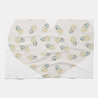 Pink heart filled with feather watercolour print kitchen towels