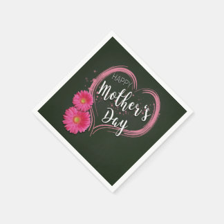 Pink Heart Flowers Mother's Day - Paper Napkin