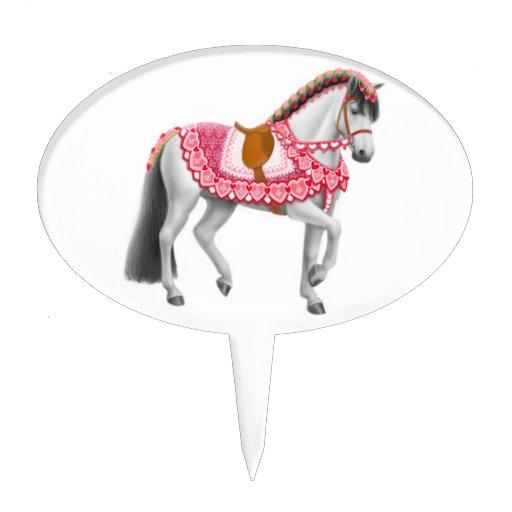 Pink Heart Horse Cake Pick