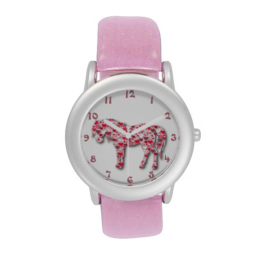 Pink Heart Horse Pony Watch