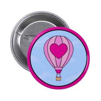 Pink Heart Hot Air Balloon Button