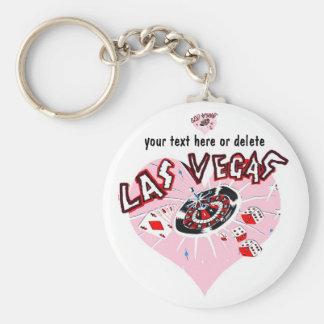 Pink Heart Las Vegas Basic Round Button Key Ring