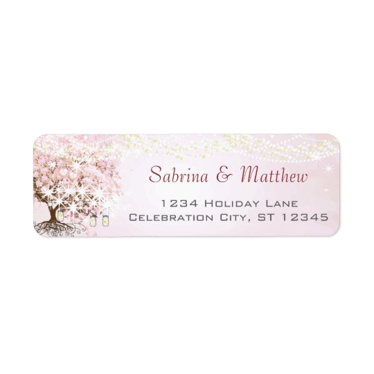 Pink Heart Leaf Tree Return Address Return Address Label