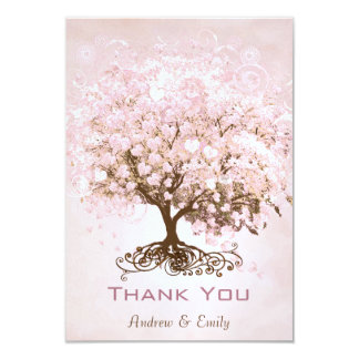 Pink Heart Leaf Tree Thank You Card