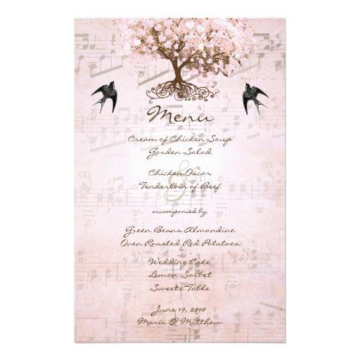 Pink Heart Leaf Tree Wedding Menu Stationery Design