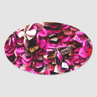 Pink Heart Locks Oval Sticker