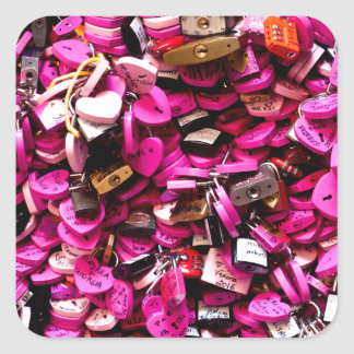 Pink Heart Locks Square Sticker