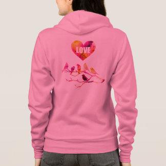 Pink Heart, Love Birds, Hoodie
