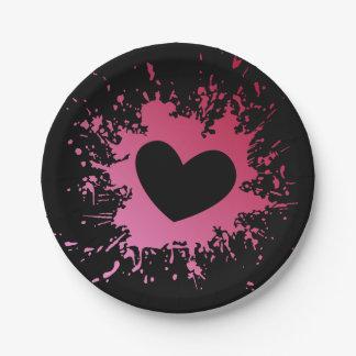 Pink Heart Love Black Paper Plates