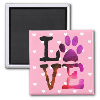 Pink Heart Love Cat or Dog Paw print Magnet