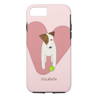 pink heart love Jack Russell dog tennis ball iPhone 8/7 Case