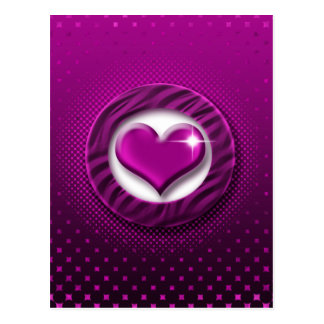 Pink heart love postcards