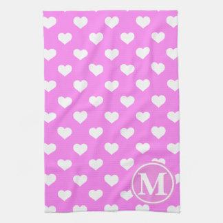 Pink Heart Monogram Kitchen Towels
