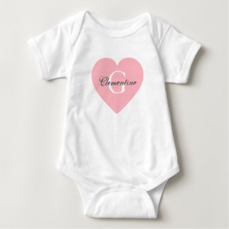 Pink Heart Name Initial Monogram Baby Bodysuit